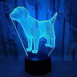 Lámpara de ilusión 3D LED luz nocturna, 7 colores de decoración óptica de mesa de noche luces de iluminación lámpara de escritorio (perro)