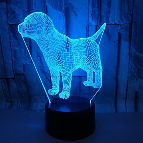 Illusion Lamp 3D LED Night Light, 7 Color Decoration Optical Table Night Lights Illuminating Desk Lamp (Dog)