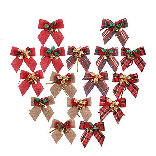 PIXHOTUL 16 Pezzi Fiocco di Natale con Mini Campane Nastro Fiocco Ornamenti per Albero di Natale, Ghirlanda di Natale, Decorazione di Regalo