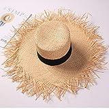 B/H Sombreros de Paja de Hechos a Mano Mujer Verano Proteccion Solar,Sombrero de Playa para el Sol, Sombrero de Paja Alto Personalizado,La Playa de la Paja del Borde Grande Ancho Cap