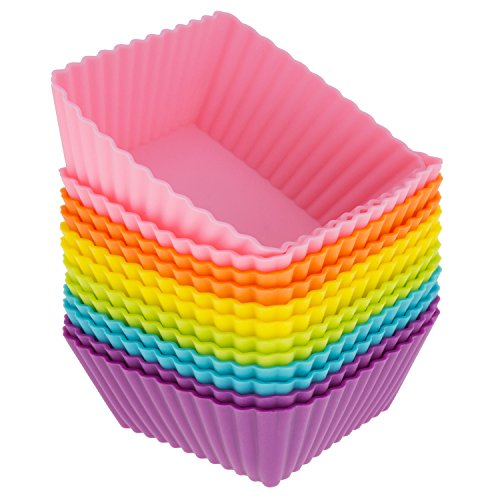 Freshware Silicone Baking Cups [12-Pack] Reusable Cupcake Liners Non-Stick Muffin Cups Cake Molds Cupcake Holder in 6 Rainbow Colors, Medium Square