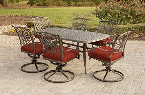 Hanover TRADDN7PCSW6-RED Traditions 7 Piece Dining Set with Cast Top Table, 72' x 38', Red/Bronze