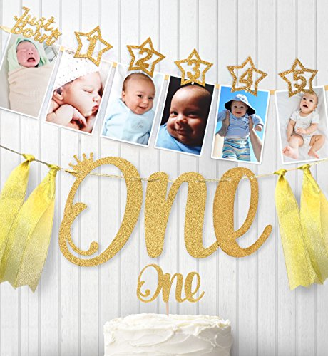 1st Birthday Gold Glitter Decorations - Handmade Monthly Milestone Photo Banner for Newborn to 12 Months, Cake Topper and ONE Banner. Great for 1 Year Old Celebration, Party Supplies