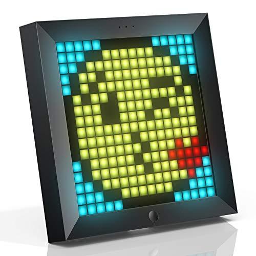 Divoom Pixoo Pixel Art Digitaler Bilderrahmen, Programmierbares 16*16 RGB LED Panel, Smart Clock mit Social Media Benachrichtigung, 7.18 Zoll Home Dekor Kalender Uhr, Gaming Gadgets (Schwarz)