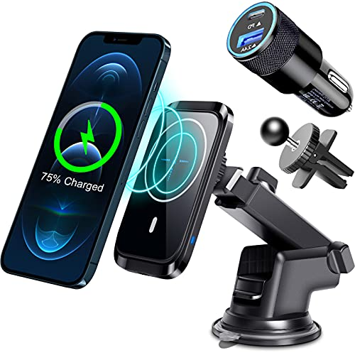 Magnetic Mag Safe Car Charger Mount Wireless Phone Holder for iPhone 13/13 Pro Max/13 Pro/13 Mini/iPhone 12 Pro Max/12 Pro/12 Mini (with PD...