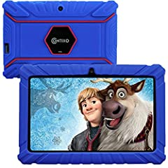 "【Powerful and Full-Featured Kid-Safe Tablet】Our kid-friendly tablet has the latest Android 8.1 Go OS, faster 1.5GHz Quad-Core Processor, 16GB storage, a 7"" shatter-safe HD touch screen with a tough bumper, Bluetooth, dual web camera for video chattin..."