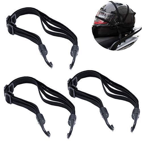 3 Stück Fahrrad Gepäckspanner Motorrad Spanngurt Elastische Koffergurt Spannseile mit Haken Verstellbarer Gepäckspanner Gepäckträger Fahrradgurt mit Haken für Motorradhelm, Fahrradgepäck, Schwarz