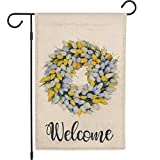 EKOREST - Bandera de jardín de tulipán de bienvenida, 12 x 18 pulgadas, doble cara, banderas de arpillera para porche al aire libre o césped.