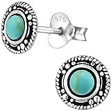 EYS JEWELRY Ohrstecker Damen rund 925 Sterling Silber oxidiert Türkis grün-blau Damen-Ohrringe