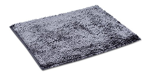 Internet's Best Microfiber Chenille Bath Mat - Non Slip Bathroom Rug - Soft Absorbent Carpet - Fast Drying Shower (24 x 17, Gray)