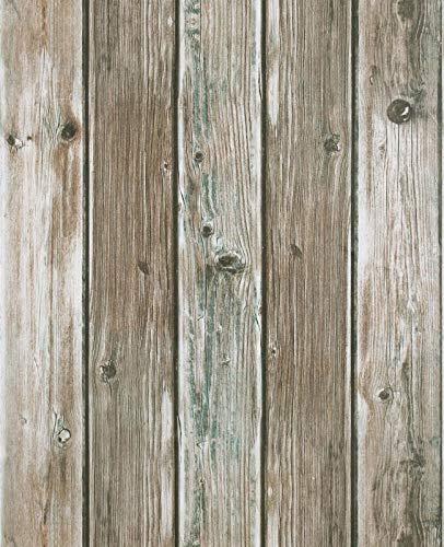 Wandtapete Braun Holz Streifen Selbstklebend Klebefolie 3D 45 x 300cm Natur Eiche Wandverkleidung Möbelfolie Tapete Folie für Zimmer Küchen Wand Schrank Tisch Matte Vinyl mit Kupfergrün