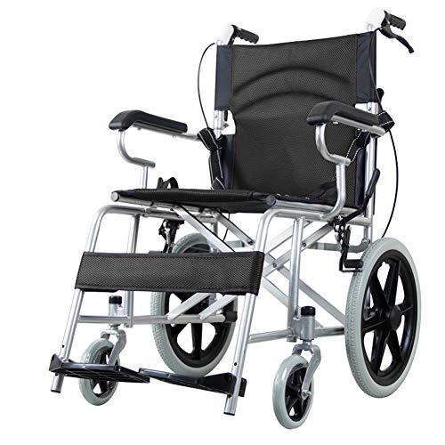 EMOGA Faltbarer Rollstuhl Mit rutschfest Armlehnen,11Kg Leichter Dicker Stahl,Transportrollstuhl Reiserollstuhl,Sitzbreite 50CM,Belastbarkeit 140Kg,Fußpedal 3 Höhenverstellbar,Black