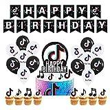 TIK Tok Decoración de Fiesta TIK Tok Banner de Feliz cumpleaños Globo de látex para celebración de Fiesta temática TIK Tok Fiesta de cumpleaños,Día de niños y niñas Decoración de Fiesta de cumpleaños