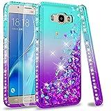 LeYi Compatible with Funda Samsung Galaxy J5 2016 Silicona Purpurina Carcasa con [2-Unidades Cristal Vidrio Templado],Transparente Cristal Bumper Telefono Case Cover para Movil J5 2016 ZX Azul