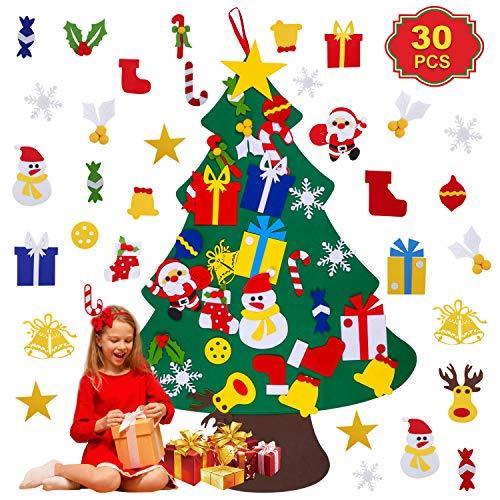 SheMKAR - Albero di Natale fai da te in feltro con 30 decorazioni staccabili, decorazione da parete per bambini, per Capodanno, Natale, porta, da appendere alla parete
