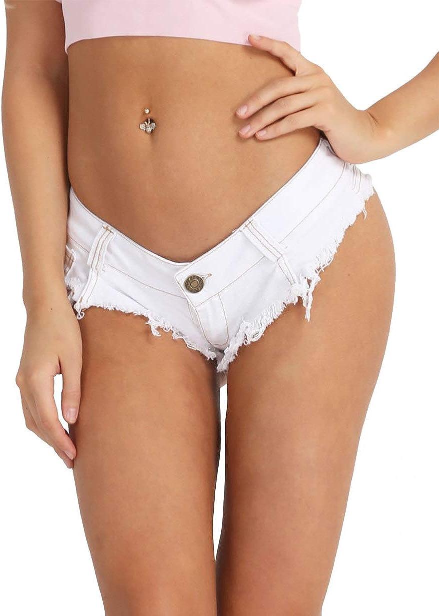 XUNZOO Womens Low Waist V Shape Front Denim Hot Shorts Mini Denim Short Jeans Pants Microshorts