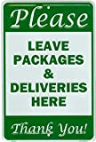 Tags America Leave Packages and Deliveries Here Sign, 8 x 12 Inch Aluminum Metal, Parcel Drop Box Notice for Amazon, UPS, FedEx, USPS