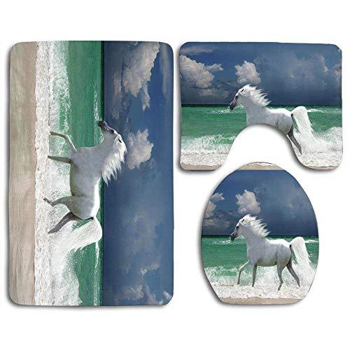 Set tappetino da bagno Cavallo che attraversa il surf Gerard Fritz Contour Tappeto a forma di U Coperchio del coperchio del WC, antiscivolo, lavabile in lavatrice, set da 3 pezzi Facile da asciugare p