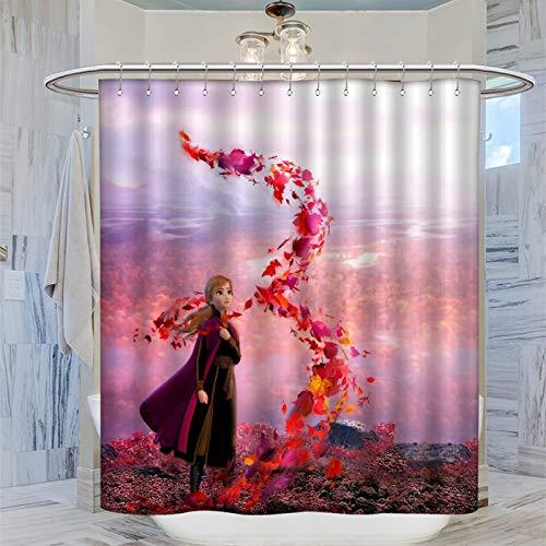 AFGGOL Anime Movie Frozen Polyester Duschvorhang Frozen Anna Prinzessin Stil Duschvorhang Art Deco Badezimmer 183 x 183 cm