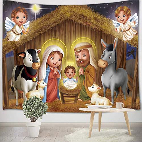 LB Cristiano Tapiz Natividad de Jesus Tapiz Pared Pesebre,Ángel,Vaca,Cordero,Estrella,Navidad Tapiz Colgar Pared...
