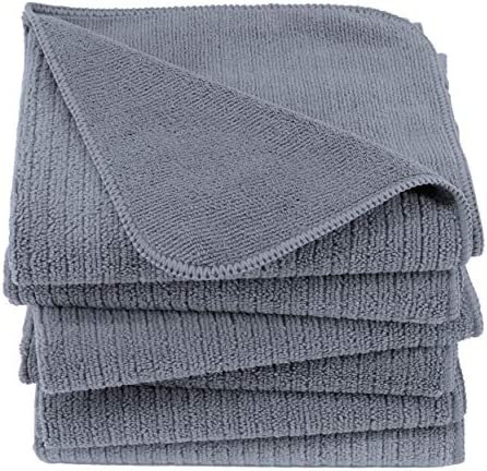 Polyte Premium Microfiber All Purpose Ribbed Terry Kitchen Towel 6 Pack Gray 16x28 in product image