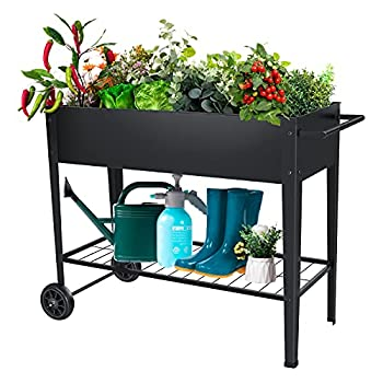 FXW Raised Garden Bed Ergonomic Metal Garden Boxes with Legs on Wheels Mobile Planter Boxes Outdoor Stand for Vegetables Flowers Herb Garden Patio Apartment Backyard Balcony