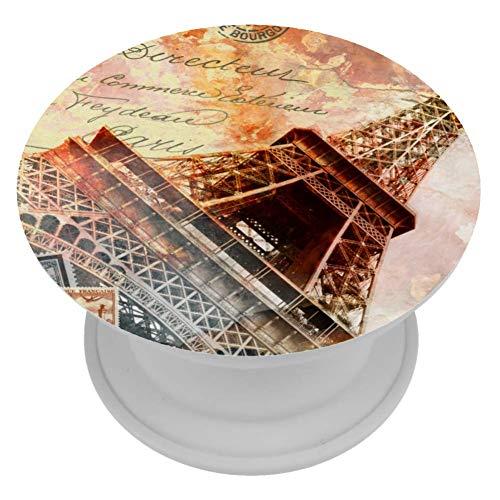 LORVIES Eiffeltoren Parijs Abstract Digitale Kunst Ansichtkaart Mount Houder Uitbreiding Telefoon Popper Grip en Stand Hand Houder Knop voor Cellphone,1 PCS