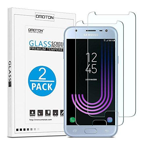 [2 Stück] OMOTON Panzerglas Schutzfolie für Samsung Galaxy J3 2017, 9H Festigkeit, Anti-Kratzen, Anti-Öl, Anti-Bläschen,2.5D abger&ete Kanten,