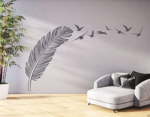tjapalo® GR-pkm21 Wandtattoo Wohnzimmer Flur Wandtatoo Feder mit Vögeln Wandaufkleber Sticker (H100xB38cm (Grau oder Farbwunsch nach Kauf senden))