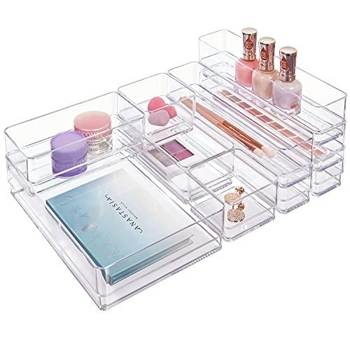 STORi Clear Plastic Makeup & Vanity Drawer Organizers   10 Piece Set