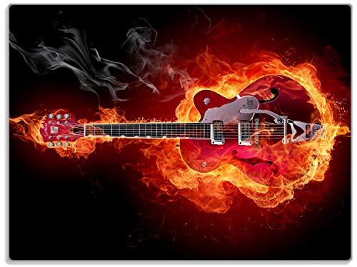 Wallario Stilvolle Glasunterlage/Schneidebrett aus Glas, Brennende Gitarre, Größe 30 x 40 cm, Kratzfest, aus Sicherheitsglas
