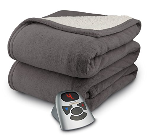 Biddeford 2061-9361158-902T Microplush with Natural Sherpa Electric Heated Blanket, Full, Charcoal Gray