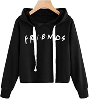 Women's Teen Girls Casual Loose Crop Top Letters Print Pullover Friend Hoodie Sweatshirt Friend TV Show Merchandise