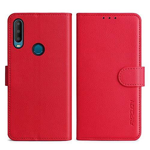 FMPCUON Funda para Xiaomi Mi A2 (Mi 6X),Flip Case Magnético Funda de Cuero PU Premium Folio Carcasa móviles Caso Libro para Mi A2 (Mi 6X) (Rojo)