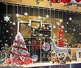 heekpek Grand Noël fenêtre Autocollants Colorful Arbres de Noël fenêtre Autocollant Stickers Flocons de Neige pour la vitrine de Magasin décorations en Verre Statique s'accroche Renne Sticker Mural