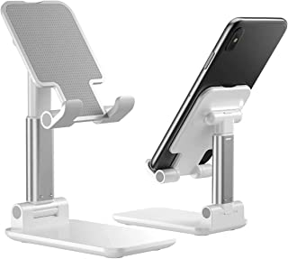 Foldable Portable Desktop Stand Adjustable Height and Angle Phone Holder for Desk Sturdy Aluminum Metal Stand Compatible w...