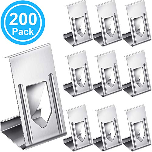 200 Pieces Picture Frame Hanger Clips Photo Frame Metal Spring Turn Clip Hanger 3D Printer Glass Bed Clips for Frame, 3D Printer Bed, Silver Color, 26 x 14 x 10.3 mm/ 1.02 x 0.55 x 0.41 Inch