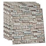POPPAP 3D Wall Panels Foam Brick Cream Grey Color Painted Stone Effect...