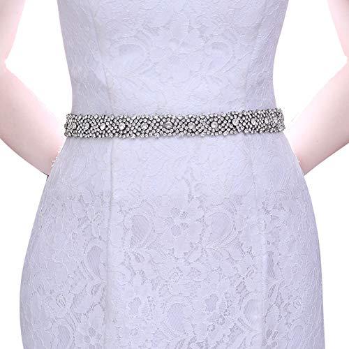 TOPQUEEN Cinturón de boda plateado brillante para vestido de noche, banda de satén para boda, fiesta, vestido de dama de honor (S28B) Color blanco natural. Talla única