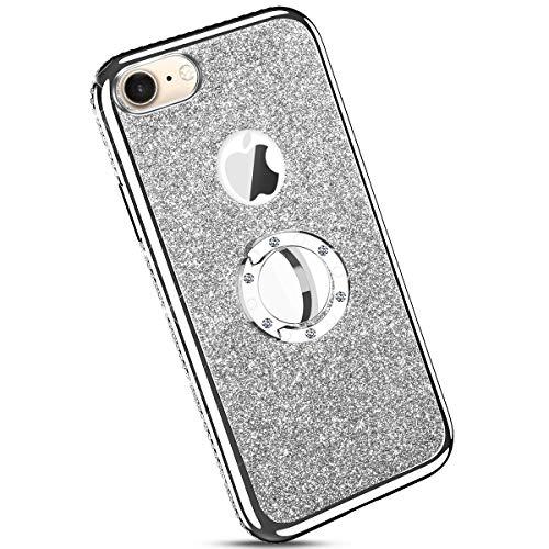 Ysimee kompatibel mit iPhone 7 /iPhone 8 Hülle, Bling Schutzhülle Glänzend Weiche TPU Silikon HandyHülle Bumper Case mit Ring 360 Grad Ständer, Diamant Glitzer Case, Silber
