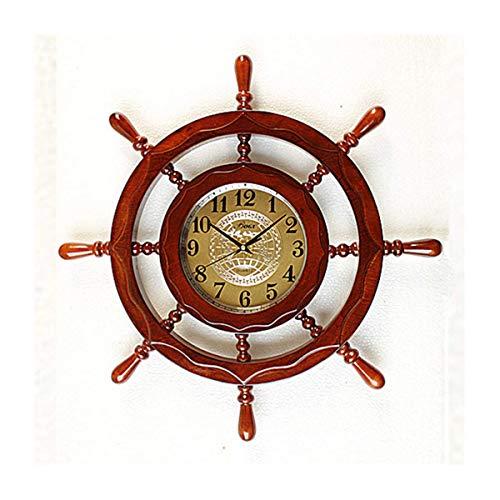 GJP Decoración de Pared de Madera de Primera Calidad náutica Internacional Reloj de Madera Ruedas de Barco Acento Pirata Reloj Decorativo marítimo decoración de Pared Lujosa Regalos y coleccionab