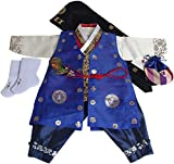 Baby Korean Hanbok Boy First Birthday Traditional Costumes Party Gift Red Hanbok/Hat/Vest/Socks
