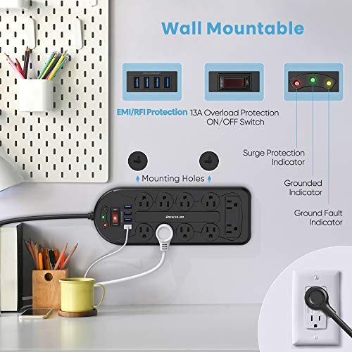 45°Right Angle Flat Plug Power Strip, JACKYLED Surge Protector Wall Mountable with 10 AC Outlets 4 USB Charging Ports, 6 Feet Long Extension Heavy Duty Cord for Computers Smartphones Tablets, Black 3