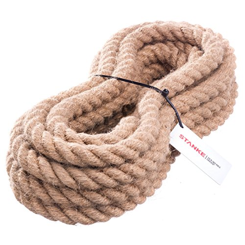 Seilwerk STANKE Juteseil Naturfasern gedreht Tauwerk Hanf Jute Tau Seil Tauziehen Absperrseil Handlauf 20mm 10m