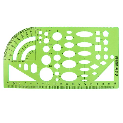 sourcingmap® Taktikschablone Schablone Lineal Winkelmesser Kunststoff für Student grün