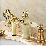 APcjerp Grifo del Grifo de la bañera Cubierta de Oro de latón baño Grifo del Fregadero Set 3 Piezas de latón y Jade orientable Ducha Aseo Mezclador del Lavabo del Grifo Hslywan