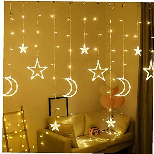 YepYes Luces de la Secuencia de la decoración LED luz de Hadas de la Luna de la Estrella de la lámpara Decorativa Impermeable para Jardín de la Ventana Cortina Calentar 3.5m Blanca