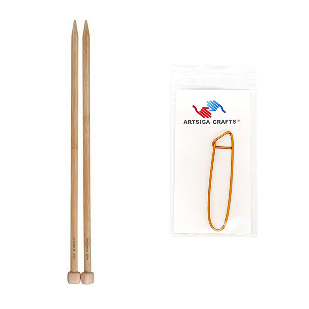 Clover Takumi Bamboo Single Point Knitting Needles 13 inch Size 8/5mm Bundle with 1 Artsiga Crafts Stitch Holder 3012-08