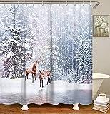 LIVILAN Duschvorhang Herbst/Winterlandschaft Design Winter Bath Curtain 4