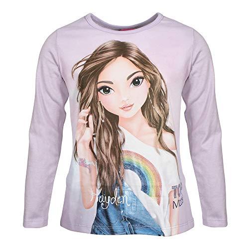 Top Model, supermodelo niñas Camiseta, T-Shirt, Manga Larga, Violeta, Talla 128, 8 años